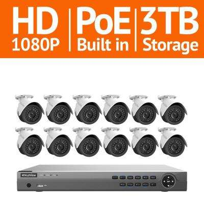 16-Channel Full HD IP Indoor/Outdoor Surveillance 3TB NVR System (12) 1080P Cameras Free Remote View and Motion Record