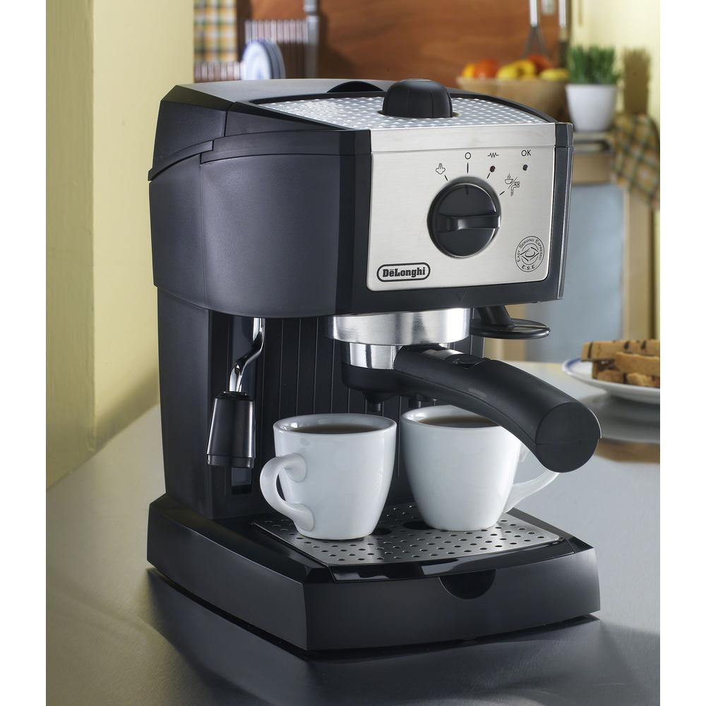 DeLonghi-EC155 15-Bar Black and Silver Espresso Machine and Cappuccino Maker