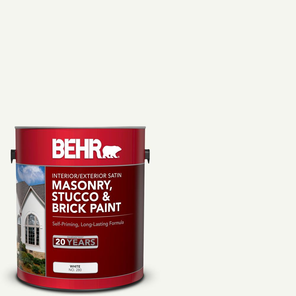 BEHR 1 gal. #MS-31 White Satin Masonry, Stucco and Brick Interior/Exterior Paint