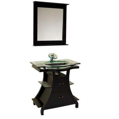 Cortese 32 in. Vanity in Espresso with Glass Vanity Top in Clear and Mirror