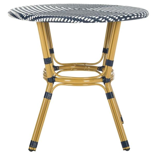 Sidford Navy/White Round Wicker Outdoor Side Table