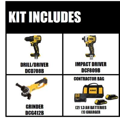 ATOMIC 20-Volt MAX Lithium-Ion Brushless Cordless Compact Drill/Impact Combo Kit (2-Tool) with Bonus Angle Grinder