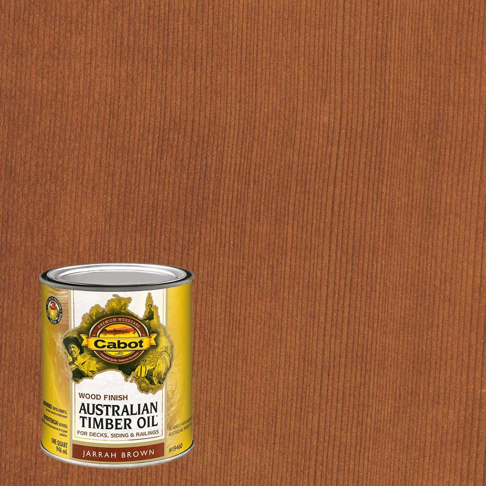 Cabot 1 Qt Jarrah Brown Australian Timber Oil Exterior Wood Finish The Home Depot