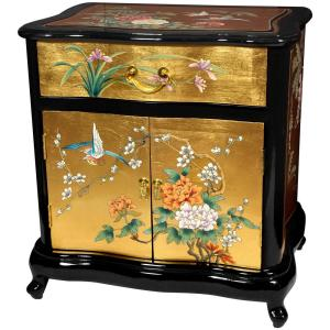Internet #301094395. Birds And Flowers Gold End Table