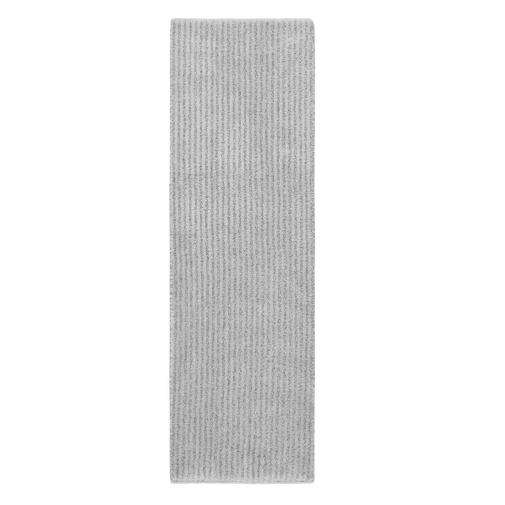 Sheridan Platinum Gray 22 in. x 60 in. Washable Bathroom Accent