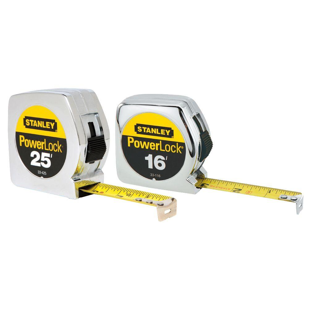 Stanley PowerLock 25 ft. and 16 ft. Tape Measures (2-Pack)