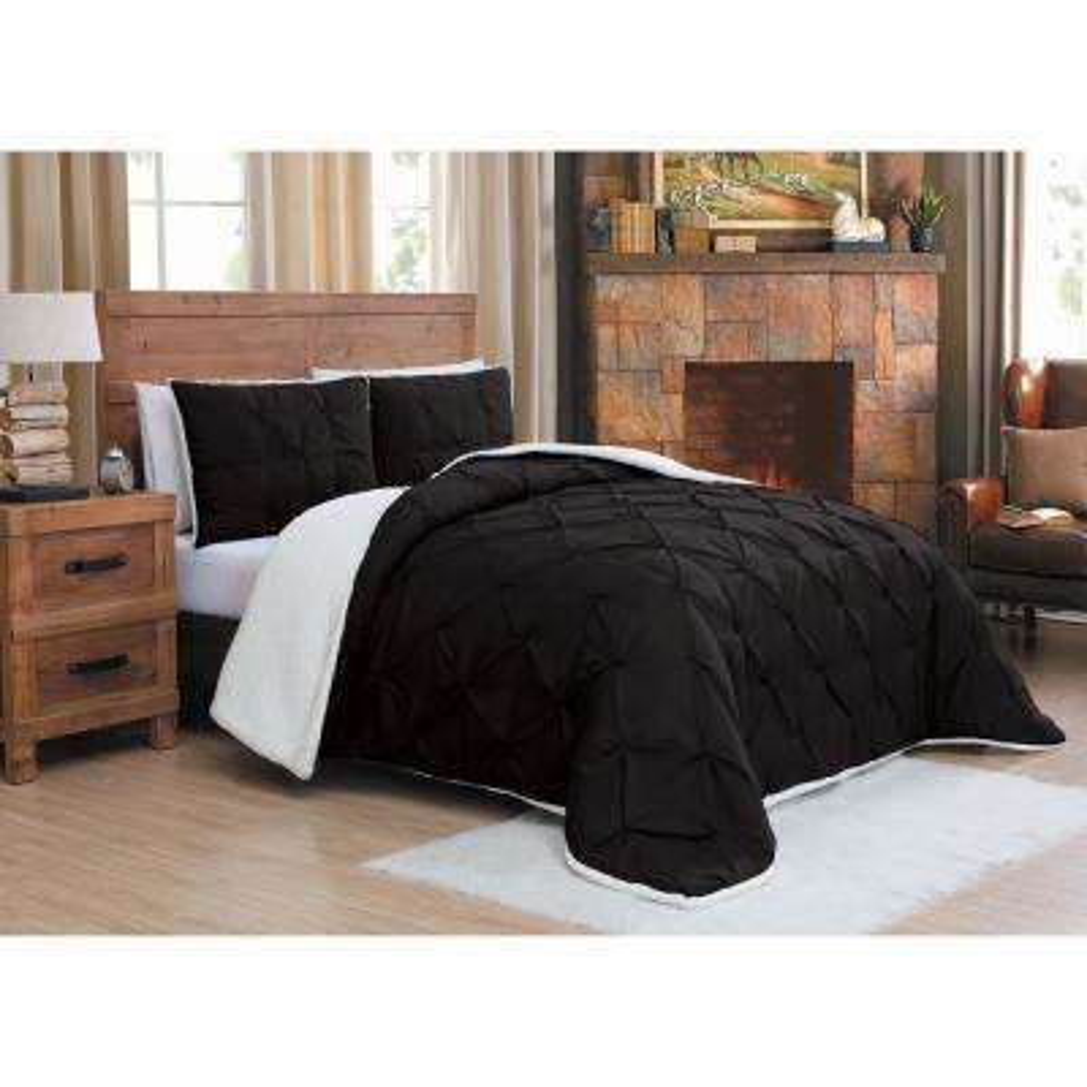 Avalanche Chandler Sherpa 3-Piece Black Queen Comforter Set