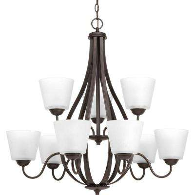 Arden Collection 9-Light Antique Bronze Chandelier with Etched Glass