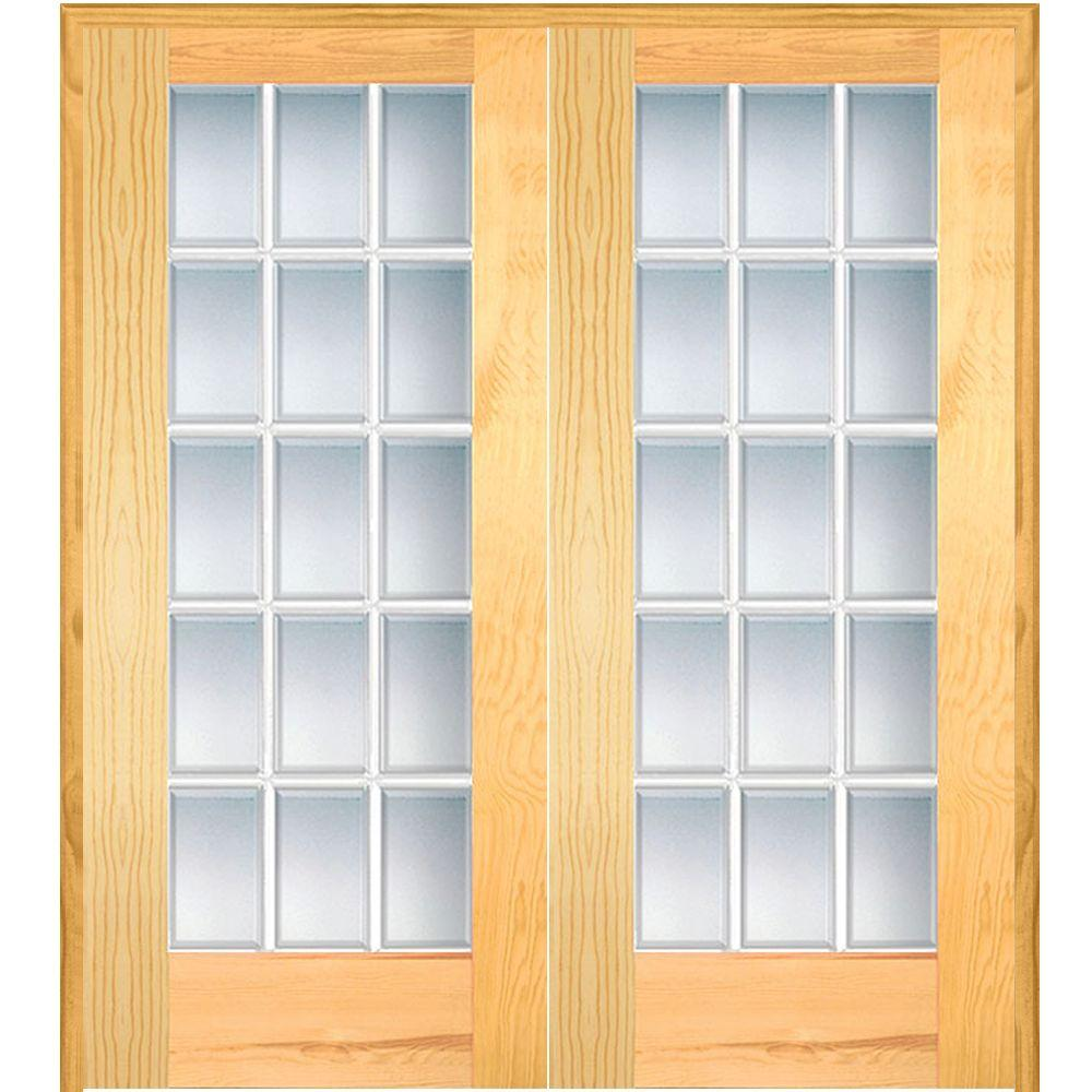 Mmi Door 60 In X 80 In Both Active Unfinished Pine Clear Glass 15 Lite Beveled Prehung