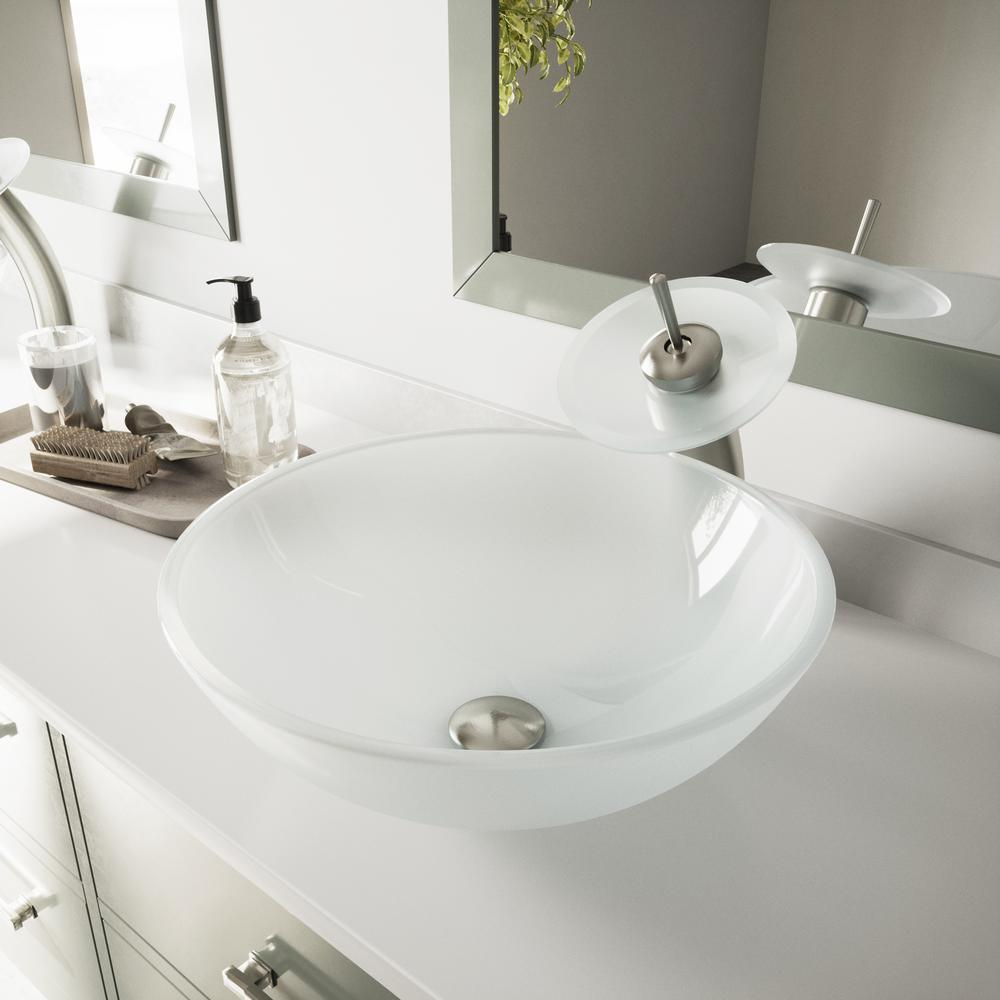 Vigo Glass Vessel Sink In White Frost With Waterfall Faucet Set In