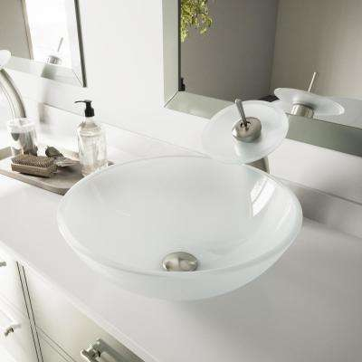 5be75cac1c0 Glass Vessel Sink in White Frost with Waterfall Faucet ...