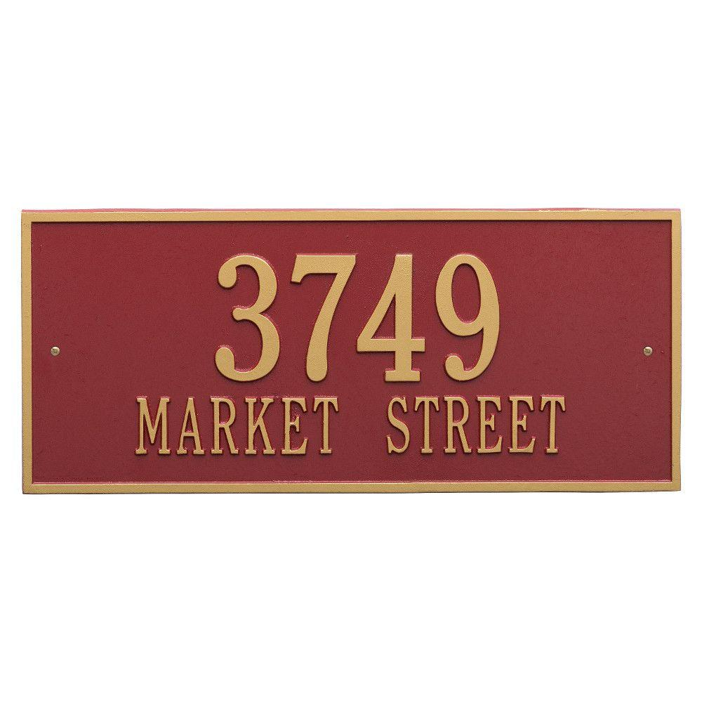 Whitehall Products Hartford Rectangular Red/Gold Estate Wall 2-Line Address Plaque