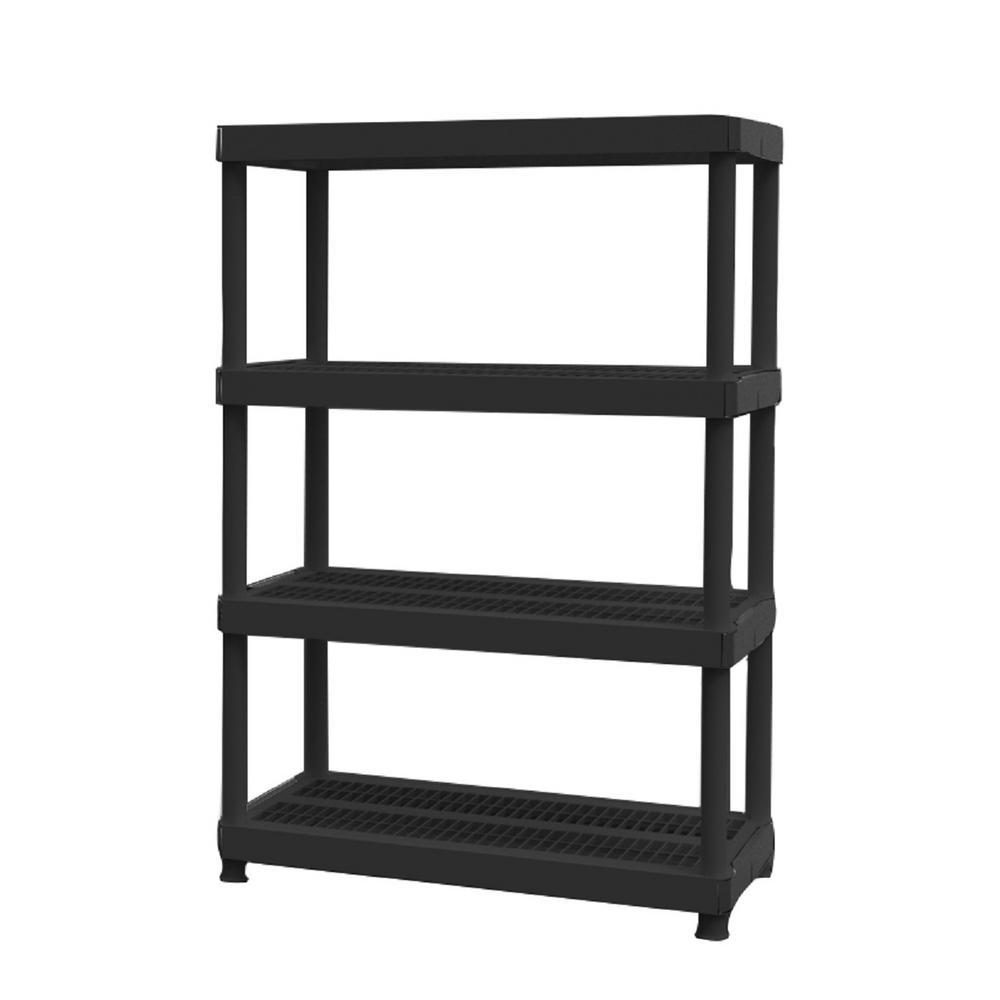 D 4 Shelf Plastic Ventilated Storage Shelving Unit In Black 140618 The Home Depot