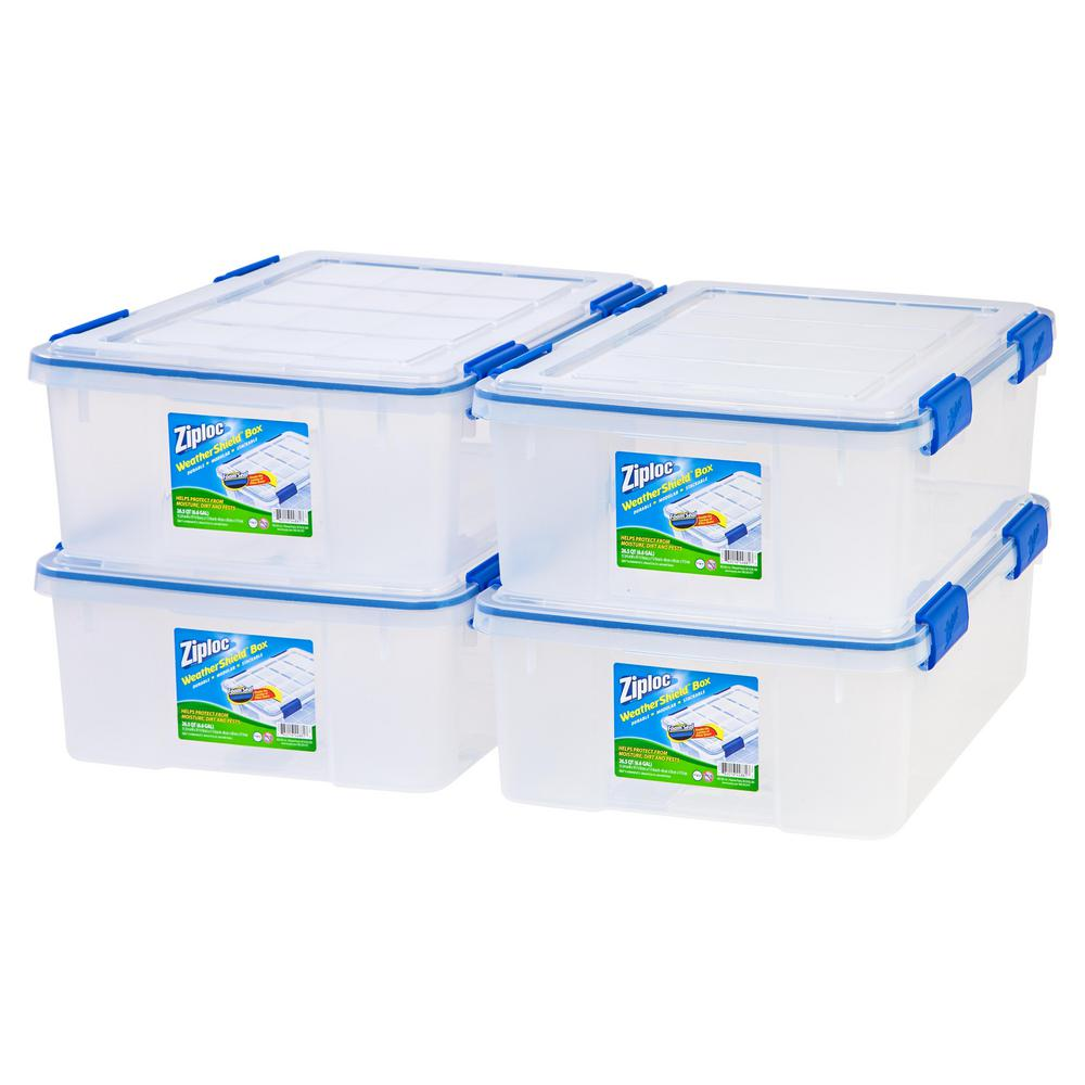 26.5 Qt. Ziploc Weather Shield Storage Box In Clear (Pack Of