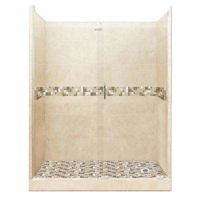 Tuscany Grand Slider 30 in. x 60 in. x 80 in. Right Drain Alcove Shower Kit in Desert Sand and Chrome Hardware