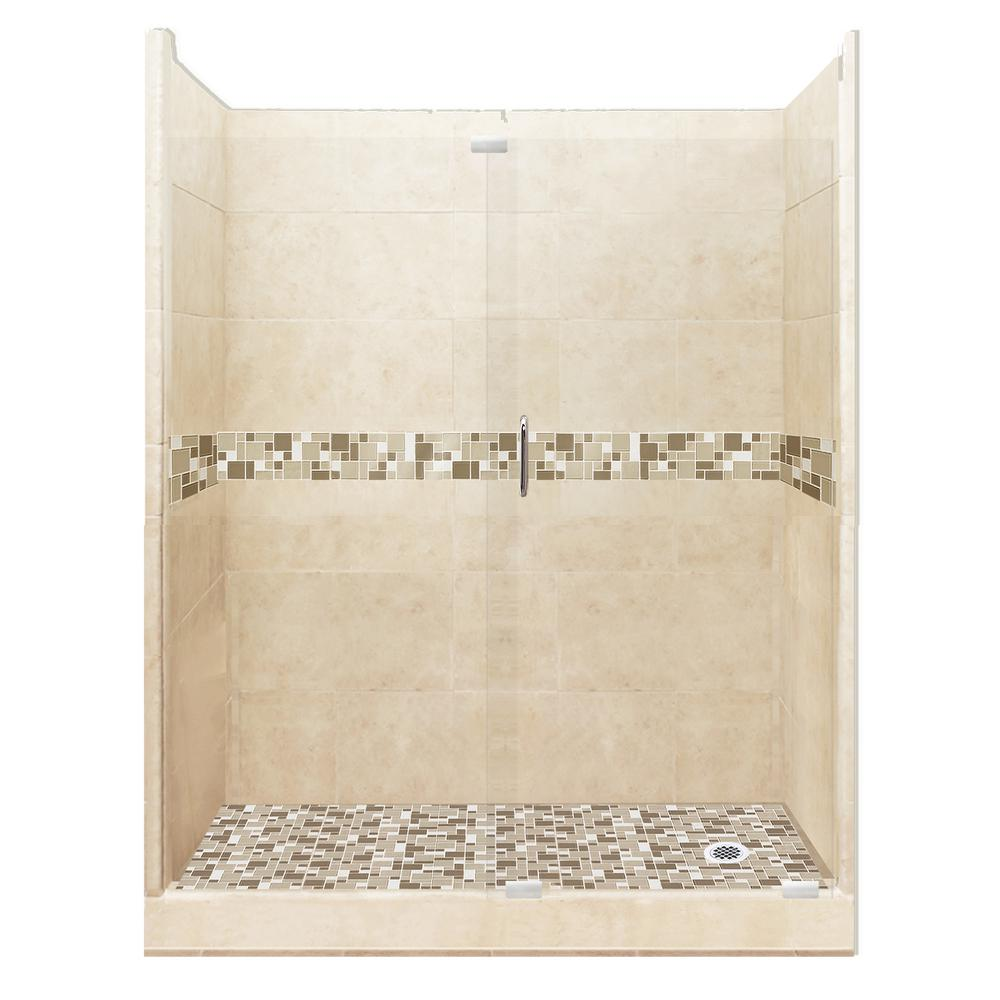 American Bath Factory Tuscany Grand Slider 42 in. x 60 in. x 80 in. Right Drain Alcove Shower Kit in Desert Sand and Chrome Hardware