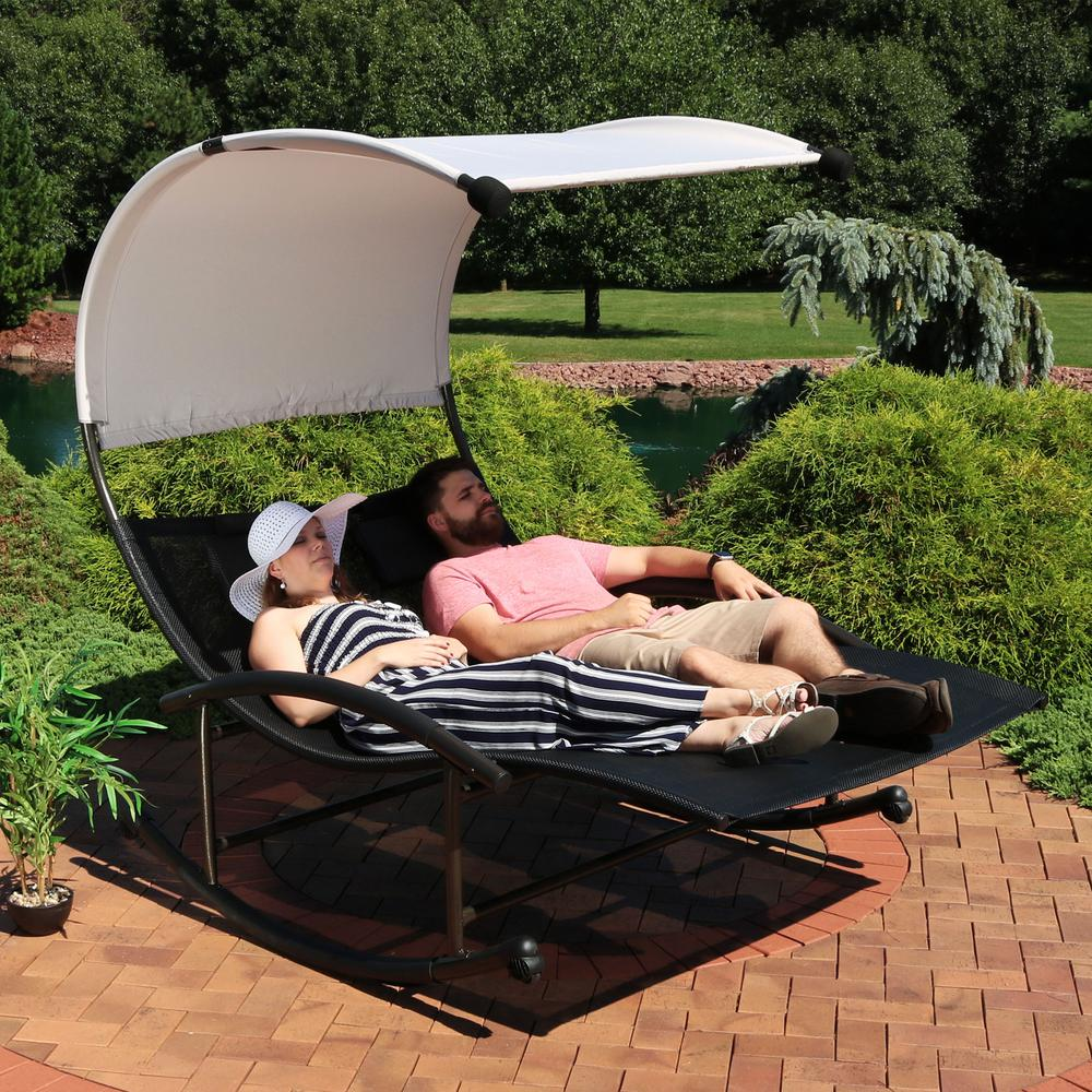 Sunnydaze Decor Sling Double Outdoor Rocking Chaise Lounge Chair With Canopy Pl 625 The Home Depot