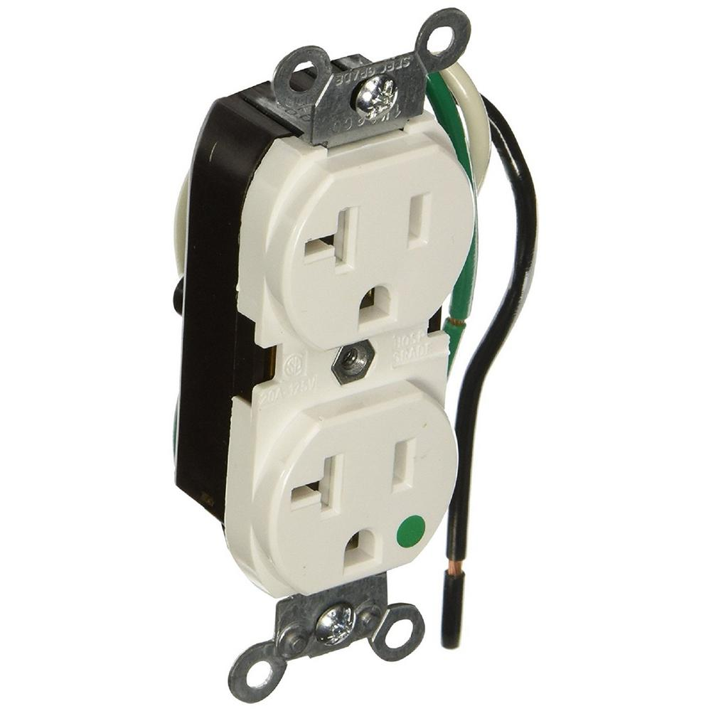 20 Amp Hospital Grade Extra Heavy Duty Duplex Outlet with Leads,
