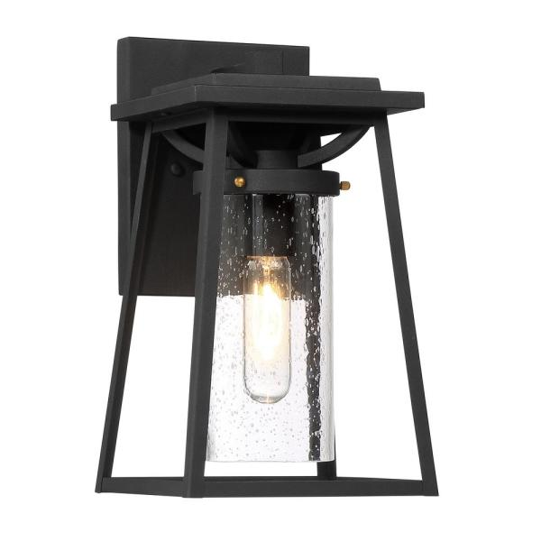 Lanister Court Medium 1-Light Sand Black with Gold Outdoor Light Wall Sconce