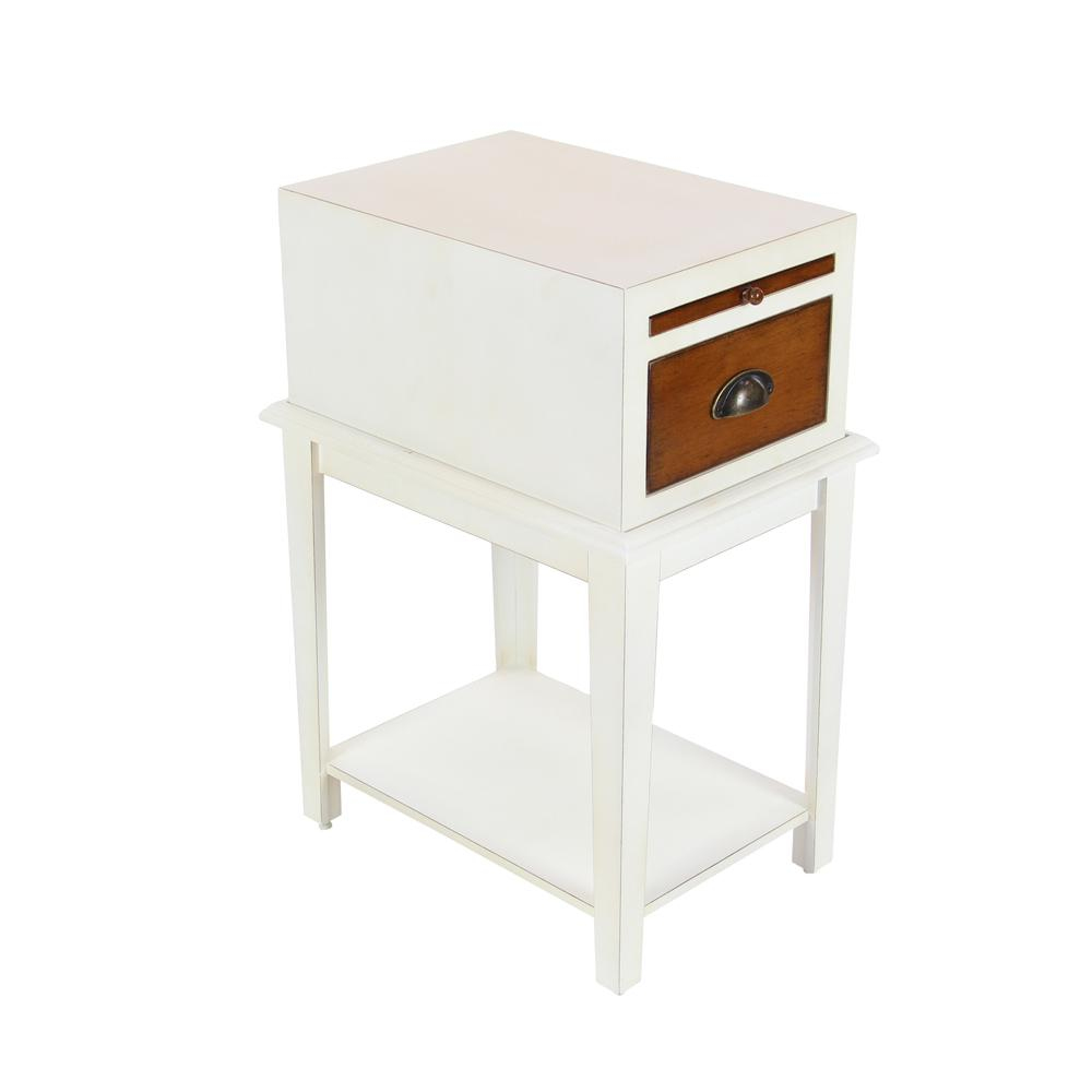 White and Brown Wooden Side Table with Drawer