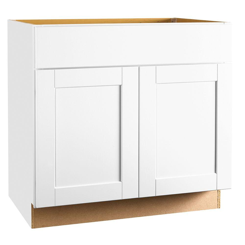 Hampton Bay Shaker Assembled 36x34.5x24 in. Sink Base Kitchen Cabinet in  Satin White