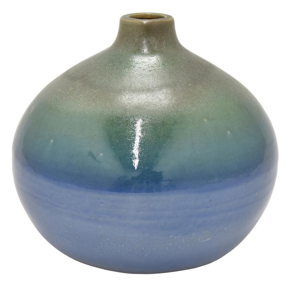 8.75 in. Blue Ceramic Vase