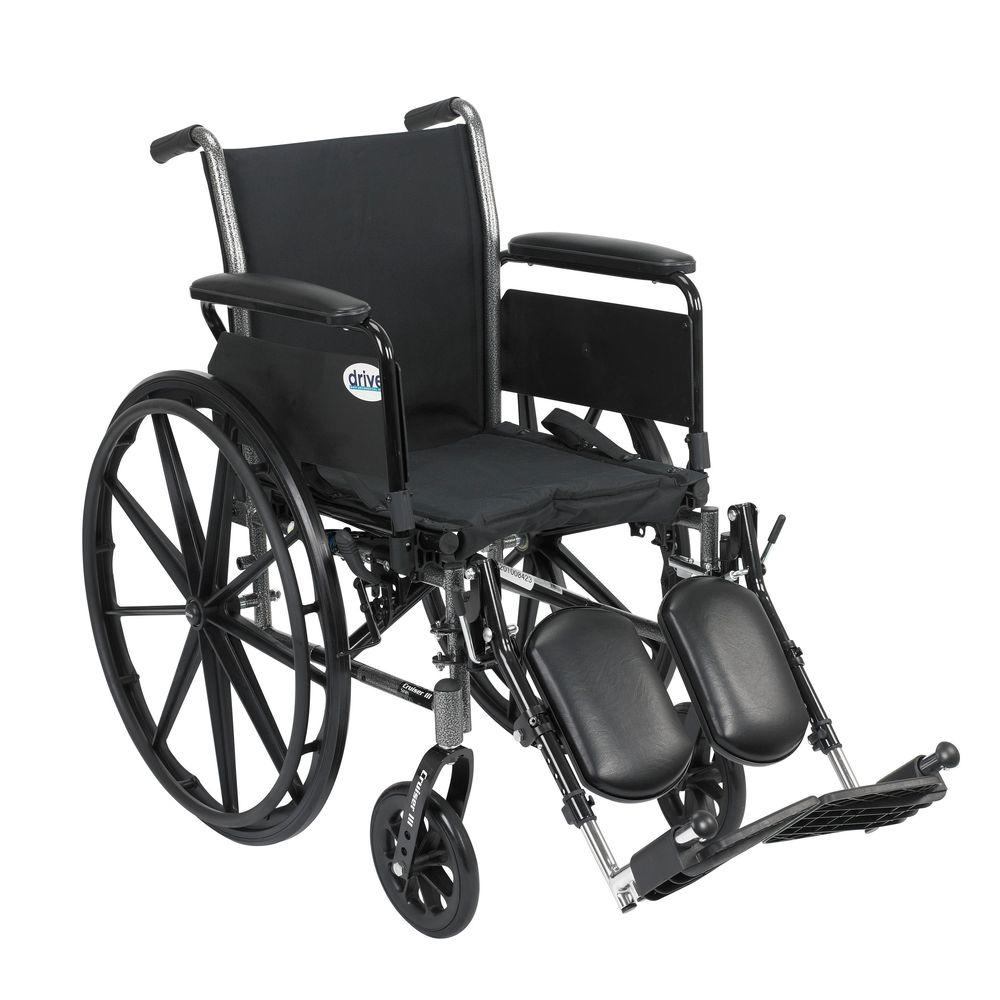 Cruiser III Wheelchair with Removable Flip Back Arms, Full Arms and