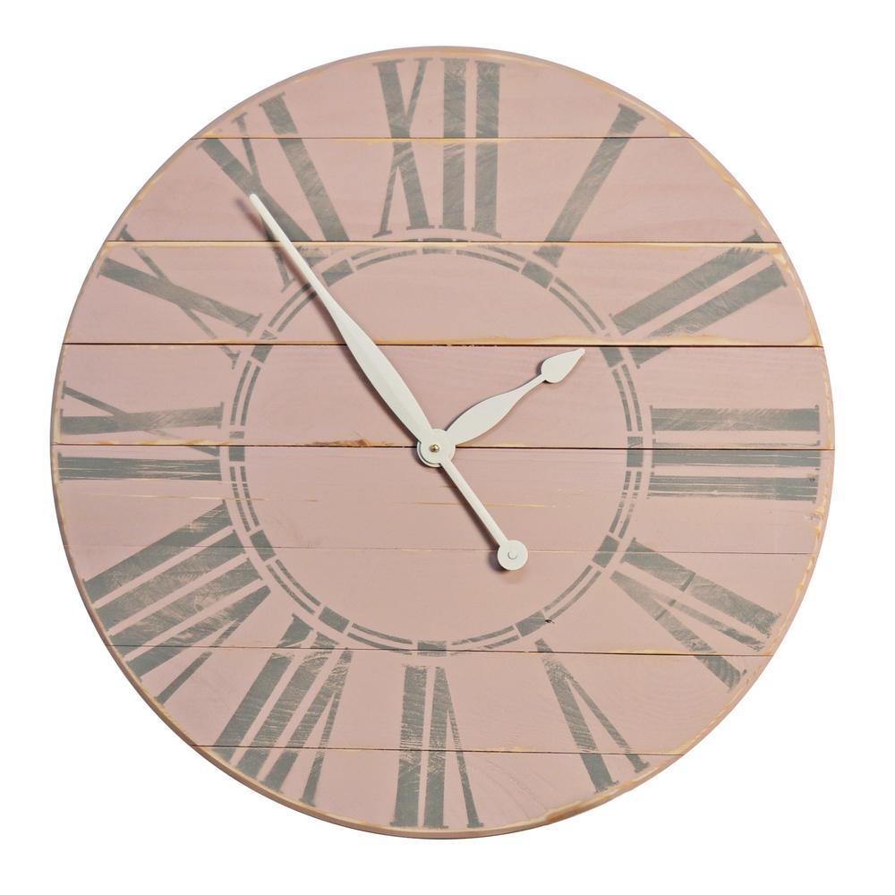 24 in. Vintage Tea Rose Farmhouse Wall Clock