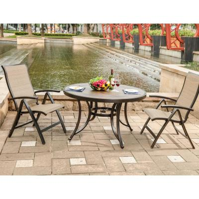 5-Piece Outdoor Patio Dining Set with 4 Foldable Sling Arm Chair and 48 in. Round Mosaic Crafttech Top Aluminum Table
