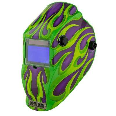 Purple Green Flame 9 to 13 Shade Auto Darkening Welding Helmet with 3.78 in. x 2.05 in. Viewing Area