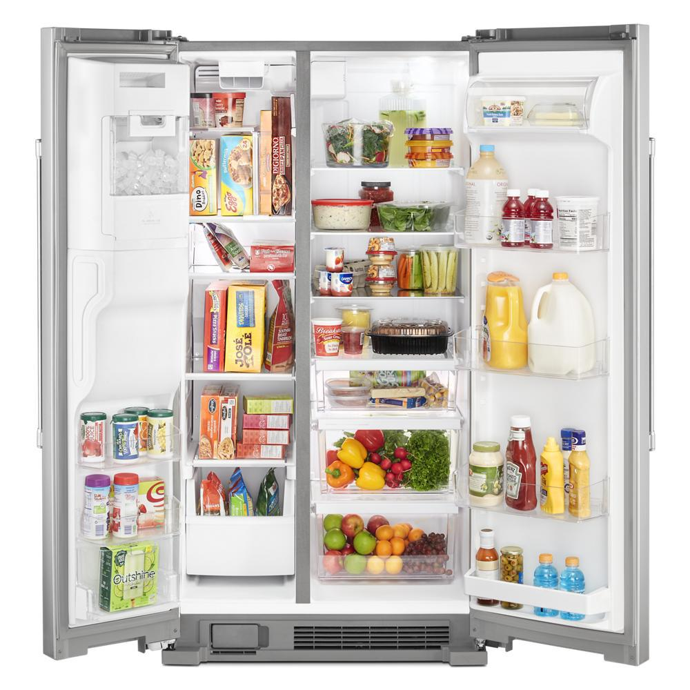 Maytag 25 Cu Ft Side By Side Refrigerator In Fingerprint Resistant Stainless Steel With Exterior Ice And Water Dispenser Mss25c4mgz The Home Depot