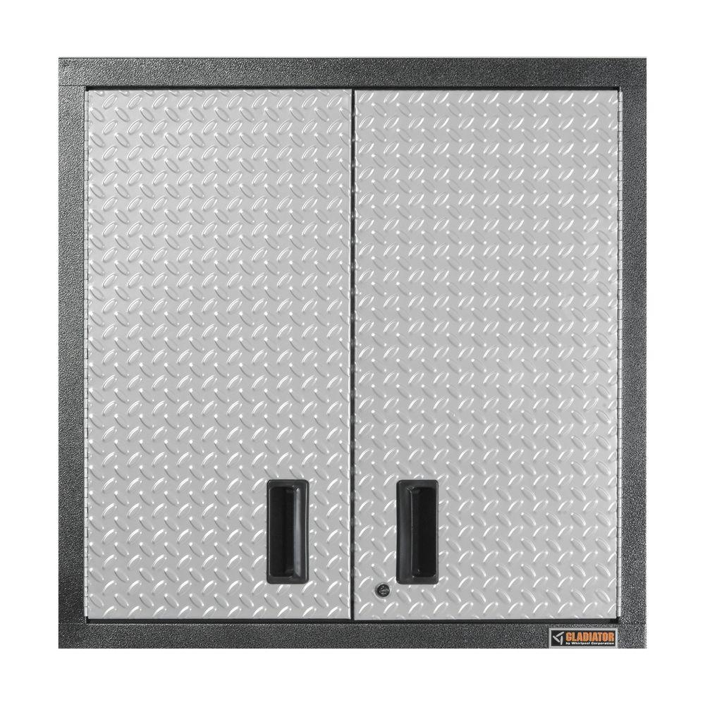 Gladiator Premier Series Pre-Assembled 30 in. H x 30 in. W x 12 in. D Steel 2-Door Garage Wall Cabinet in Silver Tread