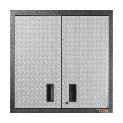 Premier Series Pre-Assembled 30 in. H x 30 in. W x 12 in. D Steel 2-Door Garage Wall Cabinet in Silver Tread