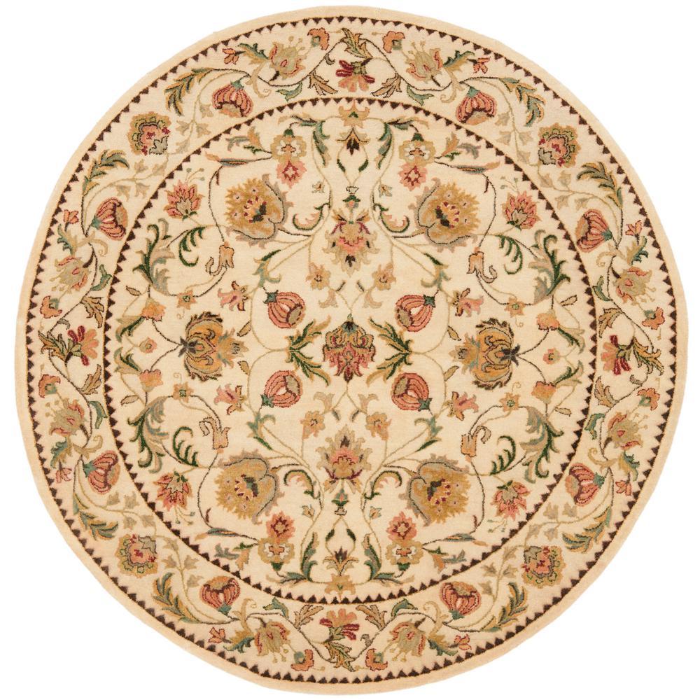 safavieh bergama ivory 4 ft x 4 ft round area rug brg161b 4r the home depot. Black Bedroom Furniture Sets. Home Design Ideas