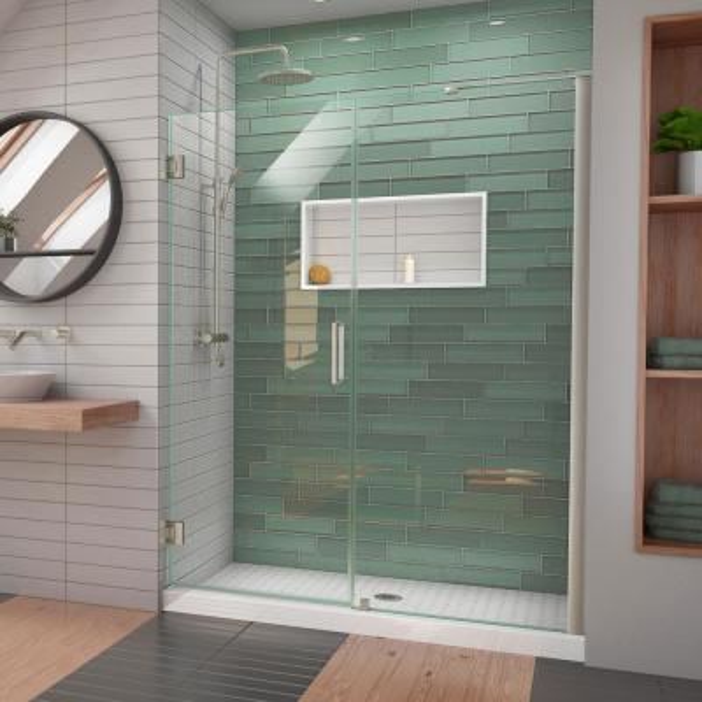 Unidoor-LS 56 in. - 57 in. W x 72 in. H Frameless Hinged Shower Door with L-Bar in Brushed Nickel