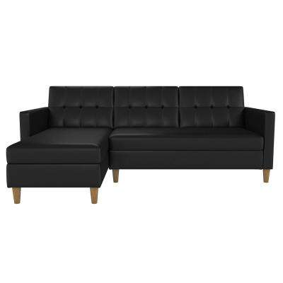 Hartford Black Faux Leather Storage Sectional Futon and Storage Ottoman