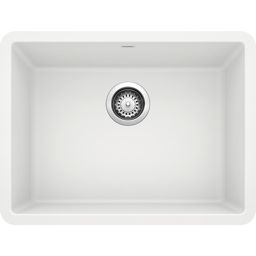 PRECIS Undermount Granite Composite 24 in. Single Bowl Kitchen Sink in White