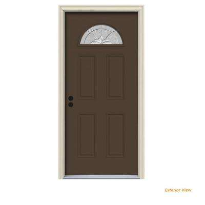 36 in. x 80 in. Fan Lite Langford Dark Chocolate Painted Steel Prehung Right-Hand Inswing Front Door w/Brickmould