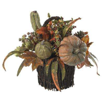 15 in. Fall Pumpkin and Berry Artificial Table Arrangement