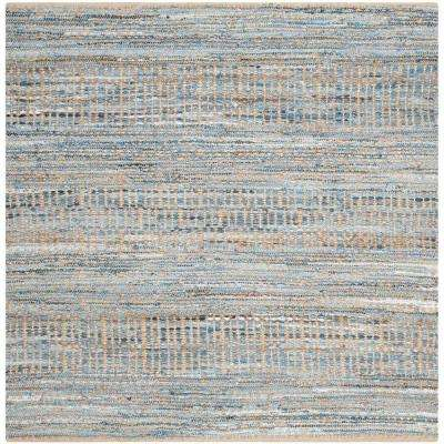 Cape Cod Natural/Blue 6 ft. x 6 ft. Square Area Rug