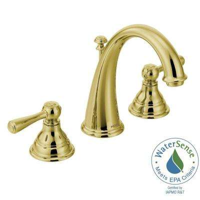 Kingsley 8 in. Widespread 2-Handle High-Arc Bathroom Faucet Trim Kit in Polished Brass (Valve Not Included)