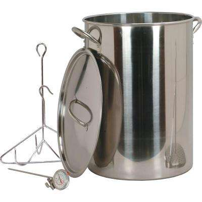 30 qt. Stainless Steel Turkey Pot with Lid Lifting Rack and Hook Deep Fry Thermometer