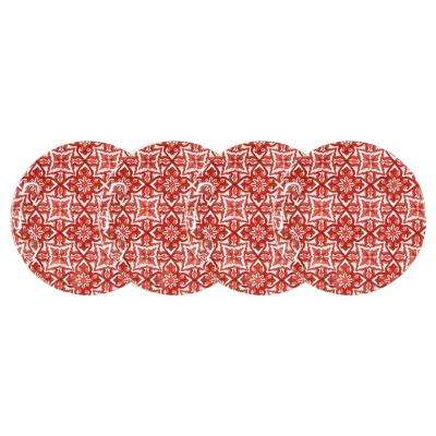 Talavera 4-Piece Red Melamine Appetizer Plate Set