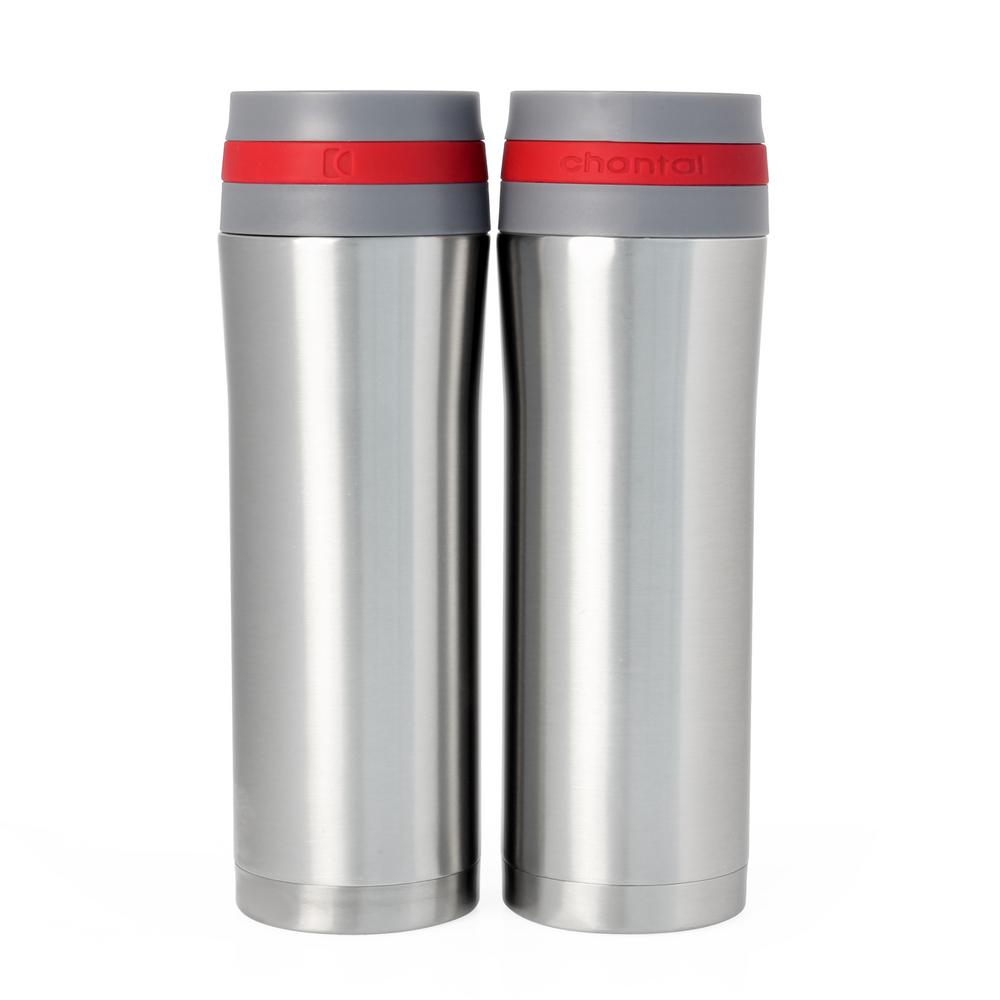 Vacuum Insulated 15 oz. Red Band Stainless Steel Travel Mug (Set
