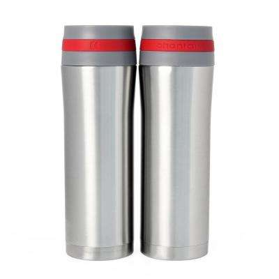 Vacuum Insulated 15 oz. Red Band Stainless Steel Travel Mug (Set of 2)