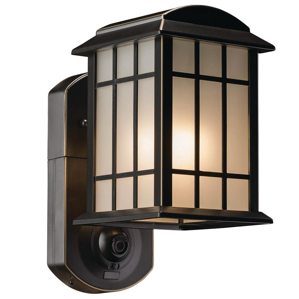 Maximus Craftsman Oil Rubbed Bronze Motion Activated Smart Security Outdoor Metal and Glass Wall Mount Lantern