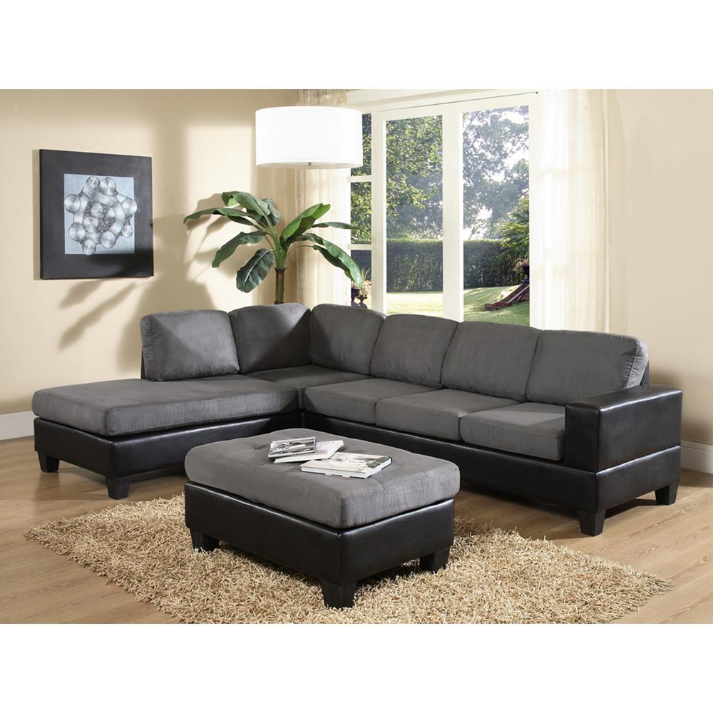 Venetian worldwide dallin gray microfiber sectional mfs0003 l the home depot for Microsuede living room furniture