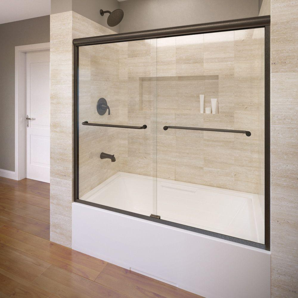 Basco Infinity 58 1 2 In X 57 In Aquaglidexp Clear Semi Frameless Sliding Tub Door In Oil Rubbed Bronze Infh05a5857xpor The Home Depot