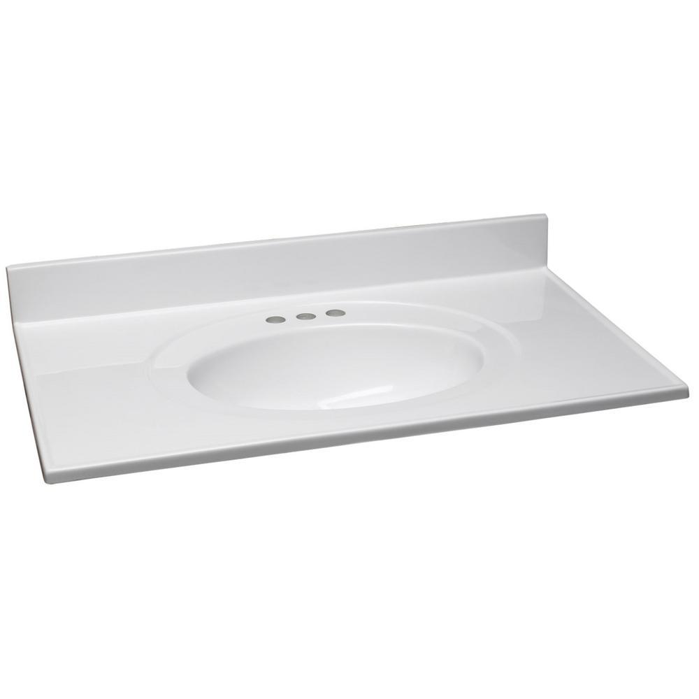 Design House 37 in. W Cultured Marble Vanity Top in White with Solid White Bowl