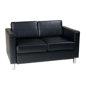 Ave Six Pacific Black Vinyl Loveseat by Ave Six
